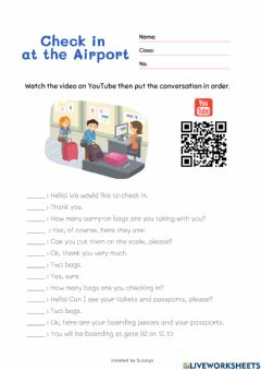Ficha interactiva Check in at the airport