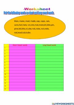 Interactive worksheet Short and Long Vowel words