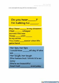 Interactive worksheet Object pronouns with songs
