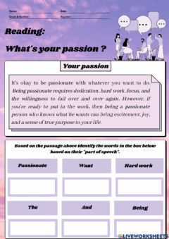 Interactive worksheet What's your passion ?
