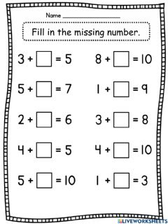 Interactive worksheet Fill in the missing number - 3