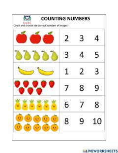 Interactive worksheet Number to 10