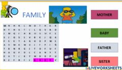 Interactive worksheet wordsearch- family