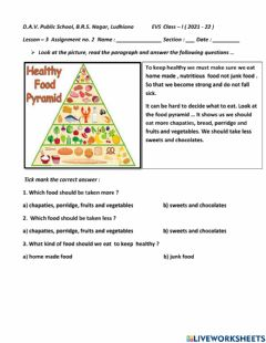 Interactive worksheet Our food