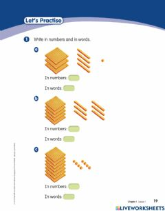 Interactive worksheet Numbers to 1000