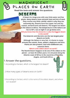 Interactive worksheet Magnificent places