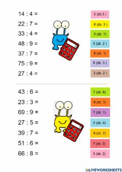 Interactive worksheet Division with reminder 2