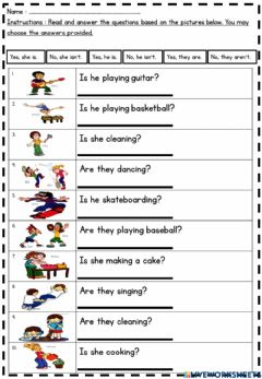 Interactive worksheet Present Continuous Tense (Question Form)