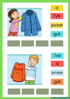 Ficha interactiva Family and friends starter clothes
