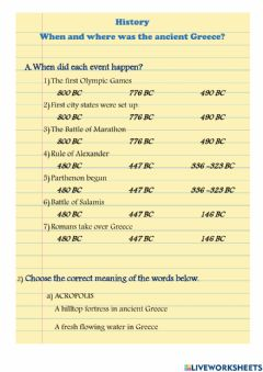 Interactive worksheet Where and when was ancient Greece?