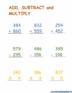 Interactive worksheet Add Subtract and Multiply
