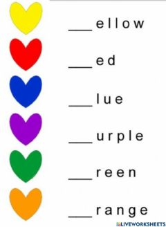 Interactive worksheet Colours: Write the missing letters