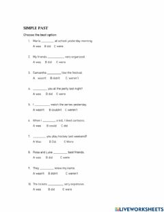 Interactive worksheet Past simple: do, be or could