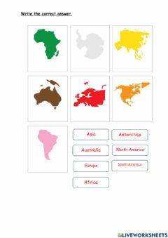 Interactive worksheet Name the continent