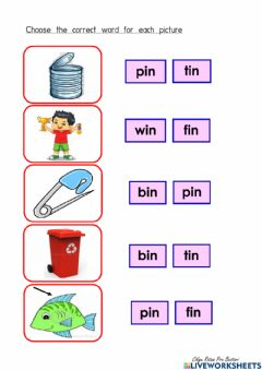Interactive worksheet 'in' word family