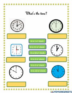 Interactive worksheet Time In O clock