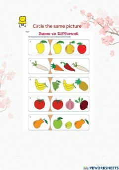 Interactive worksheet Circle the same picture