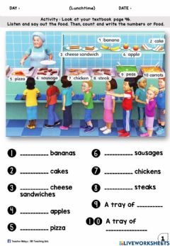 Interactive worksheet LUNCHTIME YEAR 1 (Look and Write)