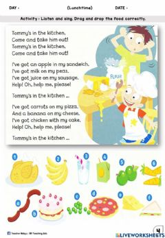 Ficha interactiva Lunchtime Year 1 (Sing, Drag and Drop)