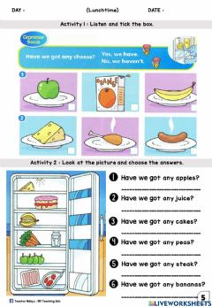 Interactive worksheet LUNCHTIME YEAR 1 (Listen and tick, Drop Down)