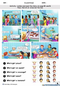 Ficha interactiva Lunchtime year 1 (Listen, Read and Choose)