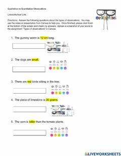 Interactive worksheet -Types of observations