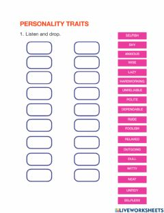 Interactive worksheet Personality Traits Listening