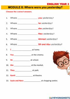 Interactive worksheet Where were you yesterday?