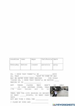 Interactive worksheet Complete a Música - Better Days One Republic