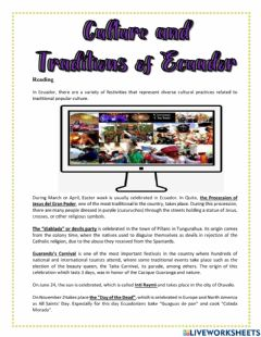 Interactive worksheet Culture and traditions of Ecuador