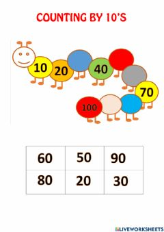 Interactive worksheet Skip Counting by 10