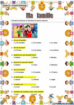 Interactive worksheet Ma famille (my family)