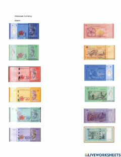 Interactive worksheet Malaysian Currency