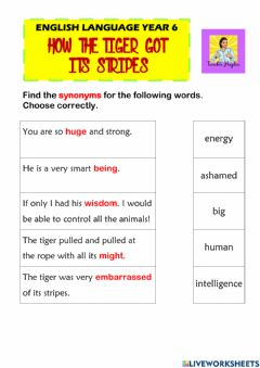 Interactive worksheet How The Tiger Got Its Stripes