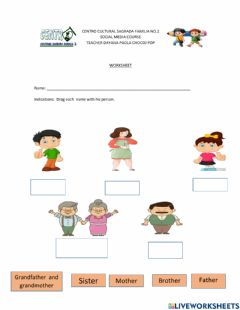 Interactive worksheet Members of the family