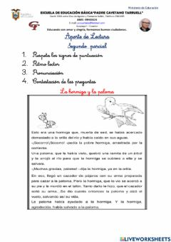 Interactive worksheet Aporte 2do parcial lectura