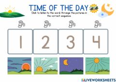 Interactive worksheet Parts of the Day: Sequence 1