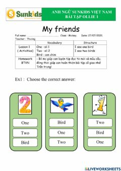 Interactive worksheet Ollie 3 - My friends - lession 1