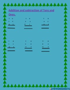 Interactive worksheet Addition and Subtraction of Tens and Ones.