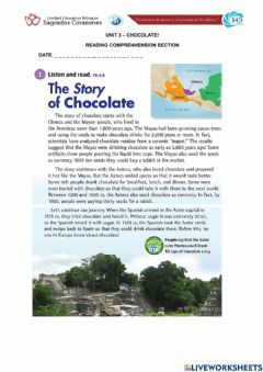 Ficha interactiva The Story of Chocolate Reading Comprehension