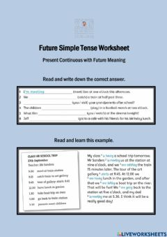 Interactive worksheet Present Continuous with Future Meaning