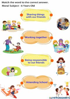 Ficha interactiva Moral Education 6 Years Old