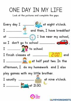 Interactive worksheet Avtivities in a day