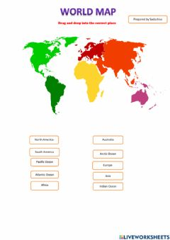 Ficha interactiva World Outline Map - Continents - Oceans