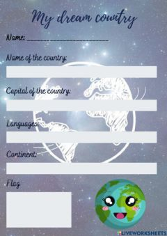 Interactive worksheet Project - My dream country