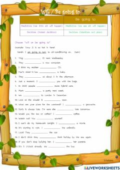 Interactive worksheet Will -Be going to