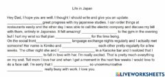 Interactive worksheet Present perfect continuous Life in Japan