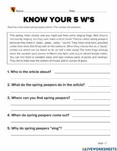 Interactive worksheet Who, What, When, Where, Why