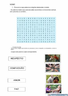Interactive worksheet Religiões do cotidiano