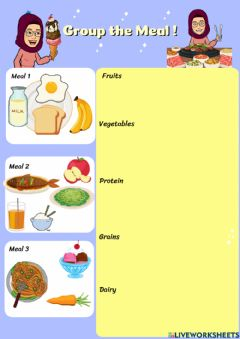 Interactive worksheet Food Groups : Group the Meal